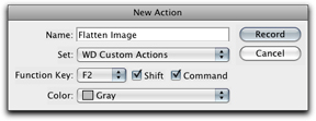 Screen shot of new flatten image action in New Action Dialogue Box in Photoshop by John Watts