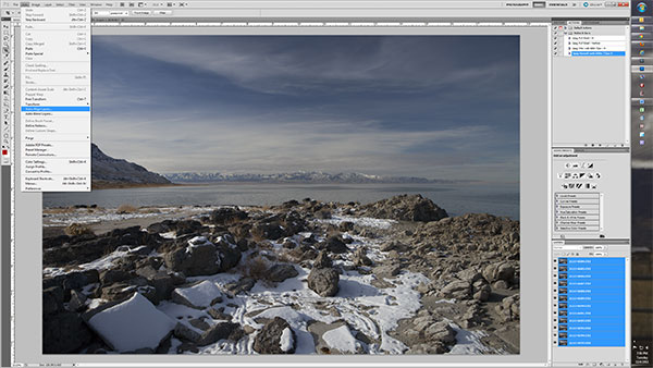Screen capture of landscape photo Layers used for Focus Stacking in Photoshop CS5 by Brad Sharp
