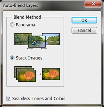 Screen capture of Auto-Blend Layers box in Photoshop CS5 by Brad Sharp