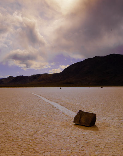 Photo of The Racetrack, sliding rock and The Grandstand at Death Valley National Park by Michael Leggero.