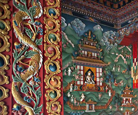 Photo of ornate interior in monastery in Bodhgaya, India by Nico DeBarmore