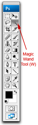 Screen shot of Tools Panel showing location of Photoshop Magic Wand Selection Tool by John Watts