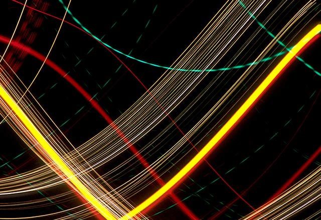 Abstract photo of lights made while moving the camera by Noella Ballenger.