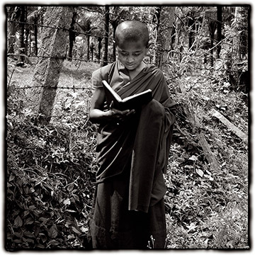 Photo of young Monk in India by Dennis Cordell