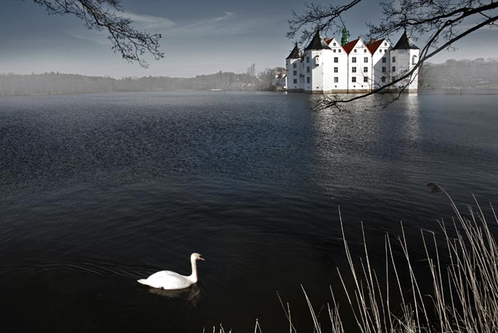 Photo depicting depth with swan on water in foreground and building in background by Gert Wagner.