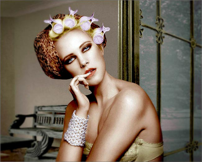 Photoshop colored photo of retro style female model in bra and hair rollers from the retro series by Juul de Vries.