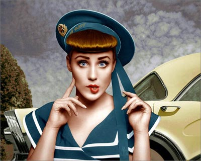 Photoshop colored photo of female model dressed in retro style in front of antique car from the retro series by Juul de Vries.