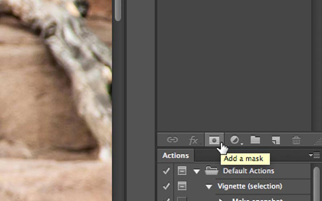Screen shot showing the Mask Button in Photoshop by Katelin Kinney.