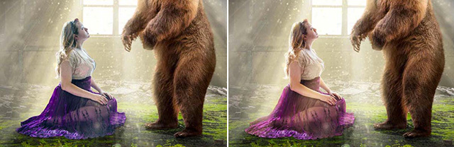 "Photos of color changes made in Photoshop to create the ""Story Teller"" by Katelin Kinney."