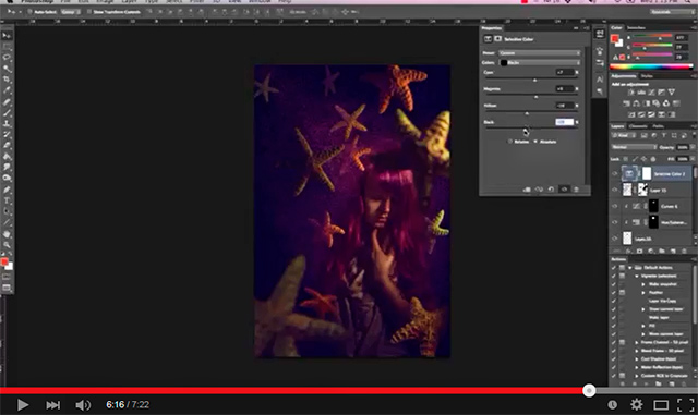 Screen shot showing the use of Selective Color in Photoshop by Katelin Kinney.