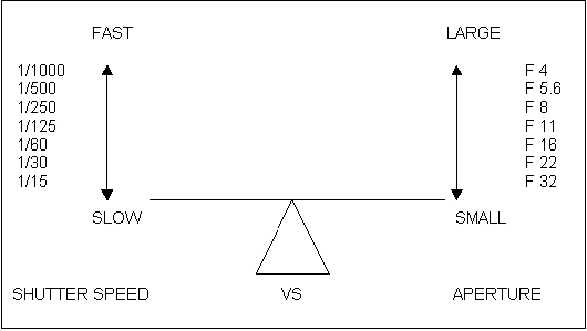 Graphic showing counterbalance between aperture and shutter speed by Noella Ballenger.