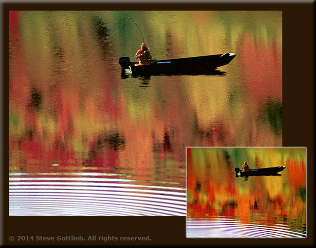 Image of a fishman on a lake with colorful tree refletions on the water by Steve Gottlieb.