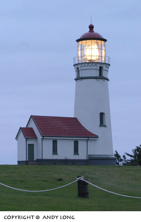 Cape Blanco lighthouse with it's light on.