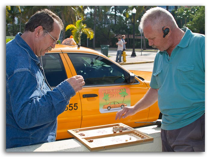 Photo of cab drivers playing Backgammon at South Beach, Miami, Florida by Jim Austin