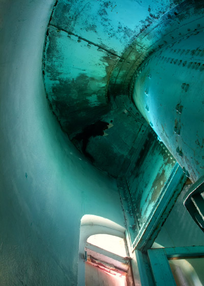 HDR image: The torquoise green Great Stirrup Lighthouse ceiling in the Bahamas by Jim Austin.