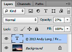 Screen shot of text layer in Photoshop by Andy Long.