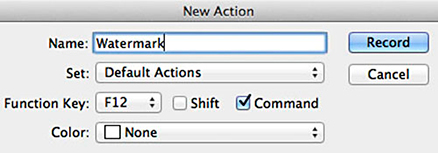 Screen shot of New Action window in Photoshop by Andy Long.
