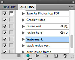 Screen shot of Watermark in Actions tab in Photoshop by Andy Long.