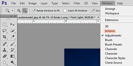Screen shot of where to find Actions in Photoshop by Andy Long.