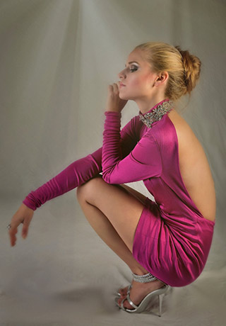 Fashion photography: model Nicole in a hot pink Chanlé Encore, a luxury couture dress, taken with a smartphone camera by Allen Moore.