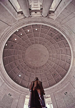 Image of the statue of Jefferson and the ceiling of the Jefferson Memorial in Washington D.C. by Steve Gottlieb.