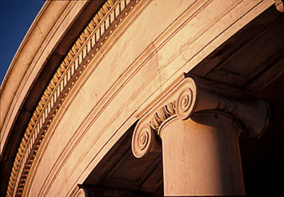 Image of the architectural details of the Jefferson Memorial in Washington D.C. by Steve Gottlieb.