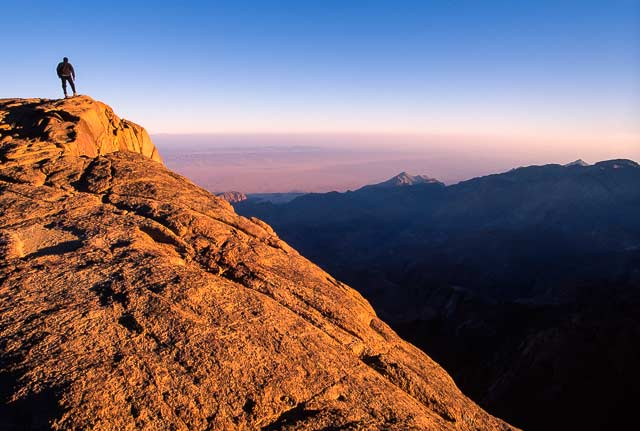 Self-portrait of Omar Attum standing on a mountain top and looking at the view in Sinai, Egypt by Omar Attum.