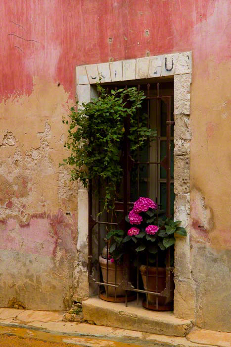 """Image of window with potted flowers in France entitled """"Old Provence"""" by Margo Taussig Pinkerton."""