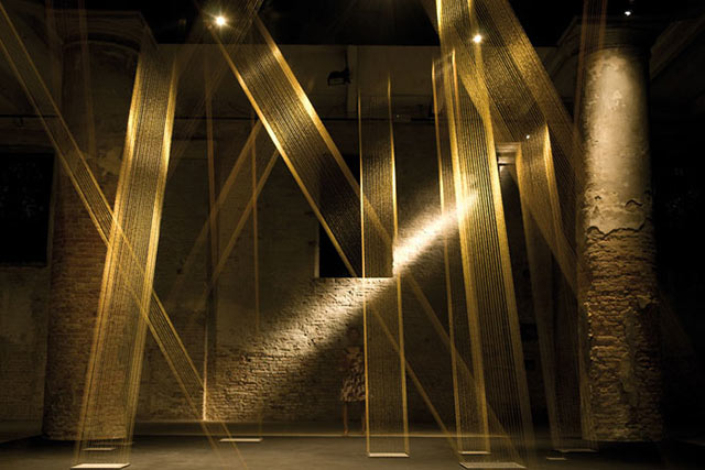 Photo of light beacons made of copper wire at Venice Biennale by Piero Leonardi