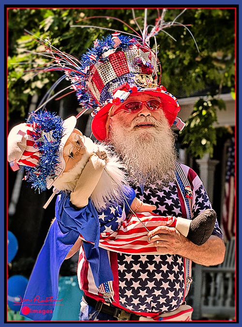 Parade photo of old gentleman in July 4th costume. © 2010 Jim Austin. All right reserved.