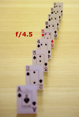 Photo of playing cards lined up in a row to show an example of depth of field with an f/4.5 aperture setting by Marla Meier.