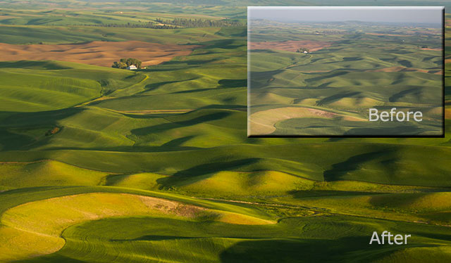 Before and after image of haze removed from a photo of the rolling hills of Palouse, Washington by Andy Long.