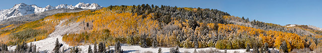 Panoramic image of trees and mountain in the fall created by stitching images together by Andy Long.