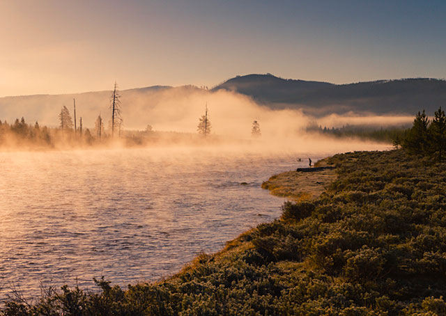 Fog Sunrise Enhance, Yellowstone NP, USA Canon 7D, 24 – 70mm 2.8 L series lens at 42mm, ISO 100, f/8 1/800 sec. Tripod and shutter release
