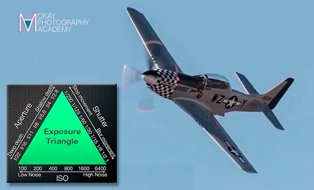 Composite image of an antique plane in flight and a graphic of the exposure triangle by David McKay.