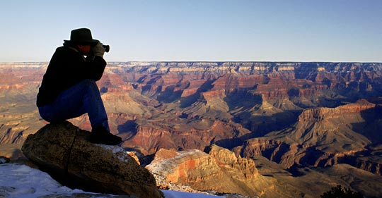 Photo of photographer at Grand Canyon