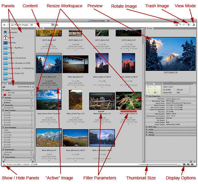 Screen shot of Adobe Bridge program by John Watts