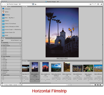 Screen shot of Adobe Bridge horizontal filmstrip by John Watts