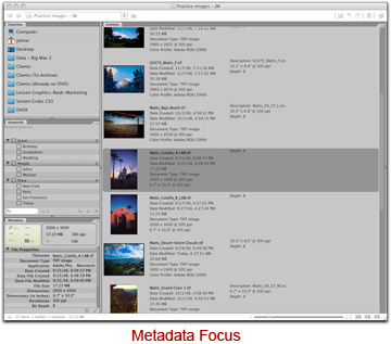 Screen shot of Adobe Bridge metadate focus by John Watts