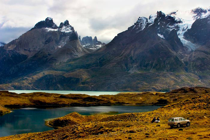 Landscape image of Torres del Paine - lake and mountains, Argentina by Noella Ballenger.