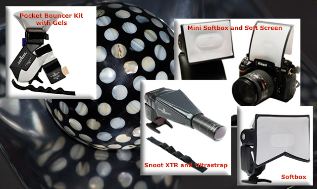 Photo collage of LumiQuest flash accessories by Marla Meier.