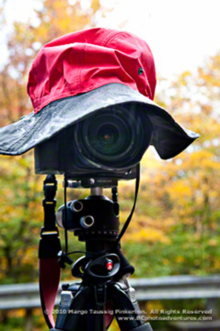 Rain hat sitting on top of a tripod and ball head by Margo Taussig Pinkerton.