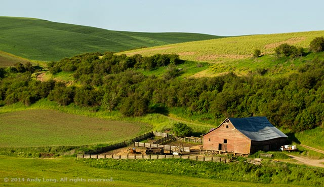 The harmonious flow of a Palouse faded red barn against the green hillside scene draws the viewer's interest by Andy Long.