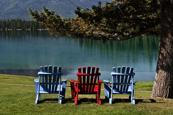 Photo of lawn chairs at Jasper Park Lodge, Alberta, Canada by Noella Ballenger