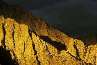 Close-up of light on the ridges of Lone Pine Peak, California by Noella Ballenger.