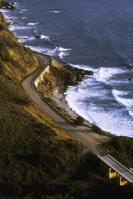 Image of Hwy. 1 and the surf along the California coast by Noella Ballenger.
