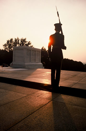 Silhouette photo of guard at Arlington National Cemetery in Washington DC by Ron Veto