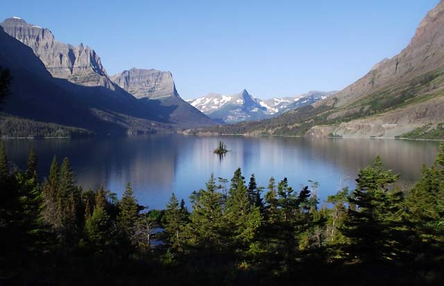 Photo adventures day hike: mountain reflections on lake at Wild Goose Island, Glacier Mountain National Park by Jeff Doran.