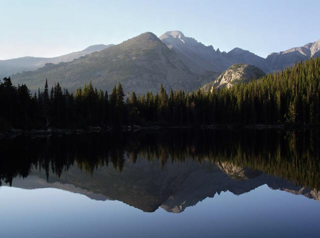 Photo adventures day hike: reflection of Longs Peak on Bear Lake, Rocky Mountain National Park by Jeff Doran.