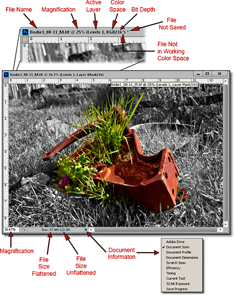 Photoshop CS6 / CC: graphic showing the information within the Document Window John Watts.